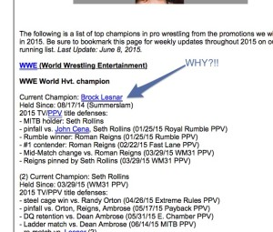 Brock Lesnar hasn't been champion for 2 1/2 months...